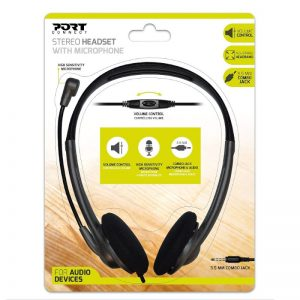 PORT STEREO HEADSET WITH MIC BK